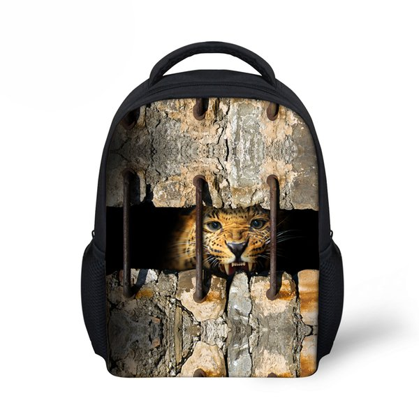 Customized Trendy Small Children School Backpack for Boys 3D Animals Leopard Bookbags Cool Tiger Head Lion Print Kids Bacpack