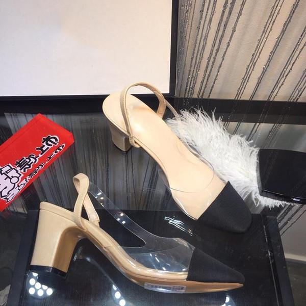 New arrive Transparent women's sandals Luxury Fashion Chunky heel summer Designer sandal Size 35-39 Model SD0704