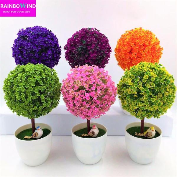 Gros-1pc Accueillant Sakura Émuler Bonsaï Simulation Décoratif Fleurs Artificielles Faux Pot Vert Plantes Ornements Home Decor