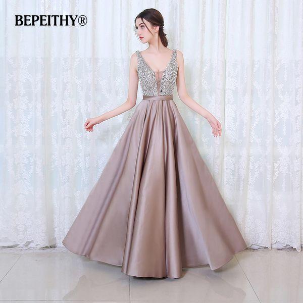 Bepeithy V-neck Beads Bodice Open Back A Line Long Evening Dress Party Elegant Vestido De Festa Fast Shipping Prom Gowns Q190524