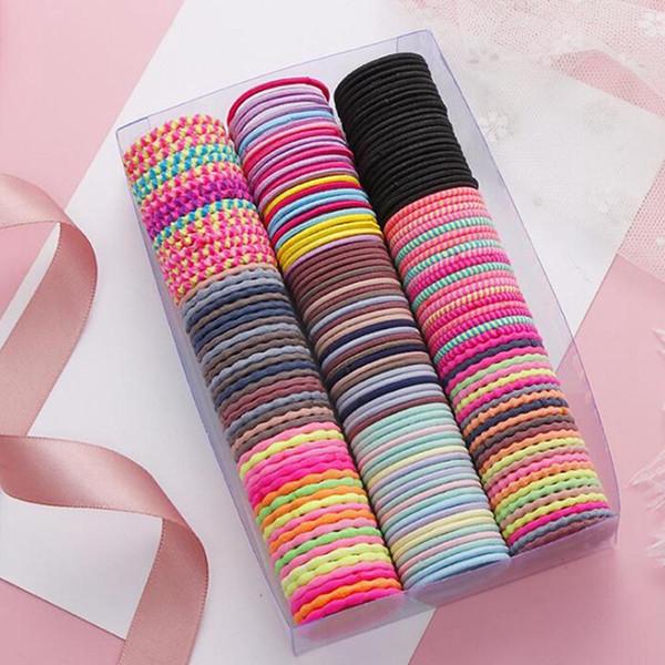 50 unids / lote 3 cm colorido anillo de pelo de nylon niños niñas bandas para el cabello rizado accesorios niños bandas de goma cintas elásticas