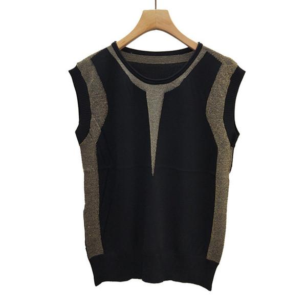 PromotionSummer Wear Female 2019 T-shirts Gold Thread Thin Ice Silk Knitting Vest