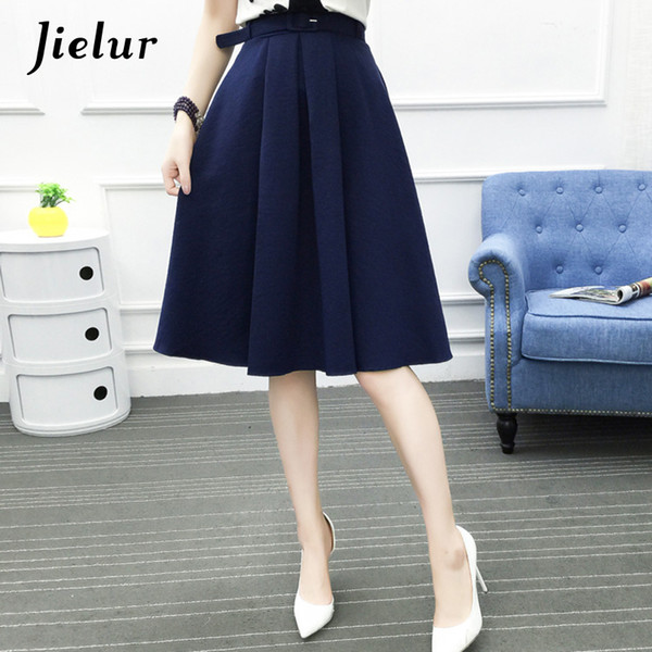 Jielur 2019 New Korean Office Lady Sashes Fashion Saias Female Summer All-match Chic A-line Skirts Pink Army Green Bottoms Women Y19050502
