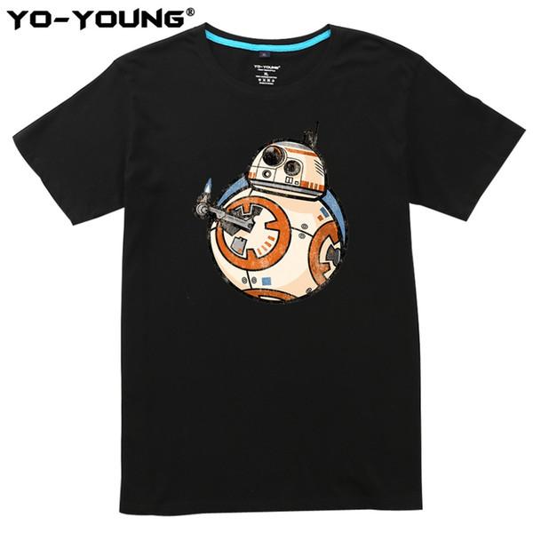 Novos Homens T-Shirt Engraçado Android BB-8 Design de Impressão Digital 100% 180 gsm Penteado Casual Top Tees Homme Personalizado