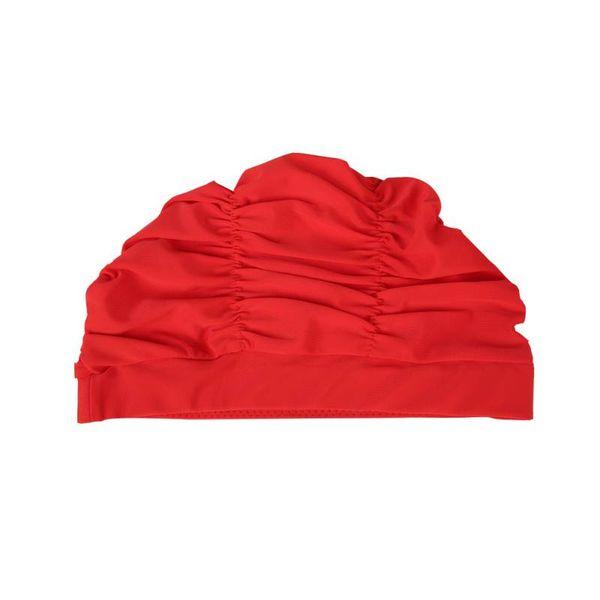 Womens Girls Stretch Long Hair Swim Hat Bathing Swimming Cap