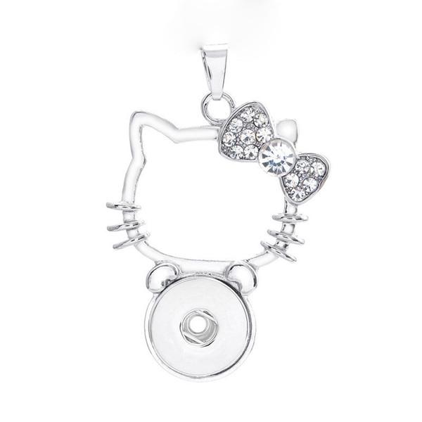 Moda intercambiabile in metallo Cat Ginger Crystal Necklace 192 Fit 18 millimetri con bottone a pressione ciondolo collana gioielli fascino per le donne regalo