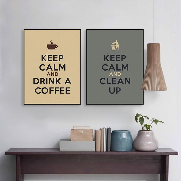 Vintage Keep Calm Life Coffee Quotes Poster Prints Nordic Living Room Wall Art Pictures Bar Home Decor Canvas Paintings Custom