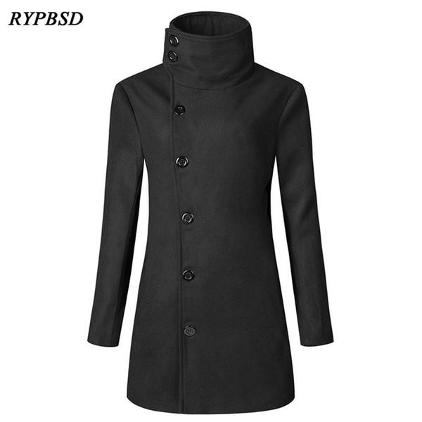 Nuevo otoño invierno mezcla de lana abrigo hombres negro gris Slim Fit oblicuo de un solo pecho Vintage Trench largo hombres prendas de vestir exteriores de lana 3XL