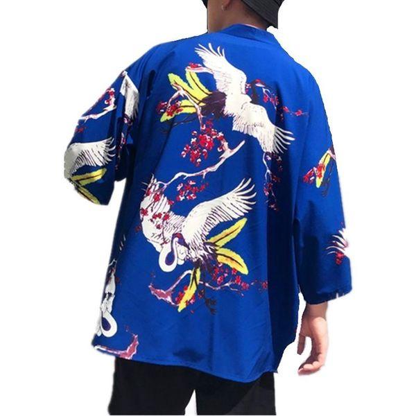 Summer Beach Мужская Кимоно Рубашка Плюс Размер Японский Кардиган Карна Выкройки Открытым Стежком Отпечатано Harajuku Мужчины Богемная Одежда