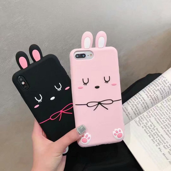 Fashion Cute 3D Cartoon Bunny Animals Pattern Soft Silicone Rubber Funny Shockproof Protective Case Cover For iPhone 6 7 8 Plus XS Max XR