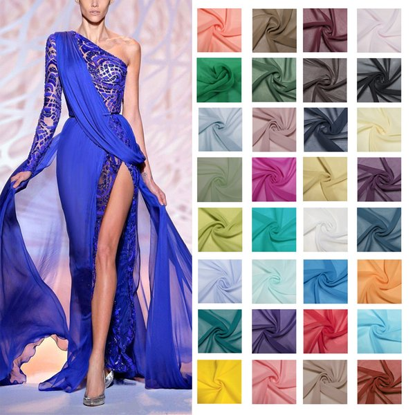 $ 3,99 Abito da sposa Prom Abiti da sera Tessuto Chiffon Tessuto 50 colori 1 Yards Tessuto di vestito economico di trasporto libero
