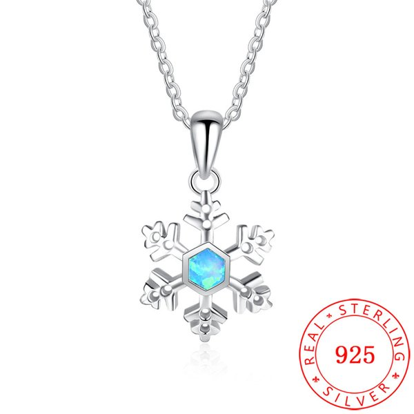 Western Charm Christmas Gift Blue Opal Gemstone 925 Sterling Silver Snowflake Pendant Without Chain Jewelry Accessory for Women NE102057