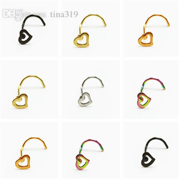 Fashion Heart-shaped Crooked hook nose nail stainless steel hollow peach heart nose ring body puncture Ornaments T9C0088