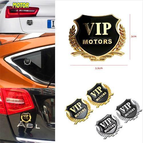 2pcs Lot 3D Logo VIP MOTORS Car Sticker Door Window Chrome Emblem Badge Body Decal Motorcycle Metal Decoration VIP Stickers Car Styling