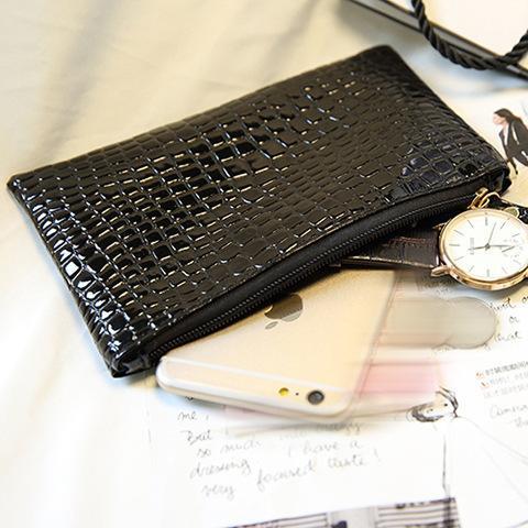 Cheap Leeshang Fashion Women's Bags Crocodile Pattern Zip Small Square Package Shoulder Messenger Bag Ladies Black Clutch Evening Bag