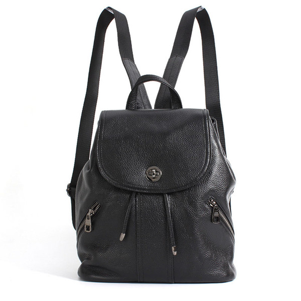 Leather Shoulder Bag Female First Layer Leather Ladies Bag Personality Trend Fashion Travel Large Capacity Backpack Lychee Bag