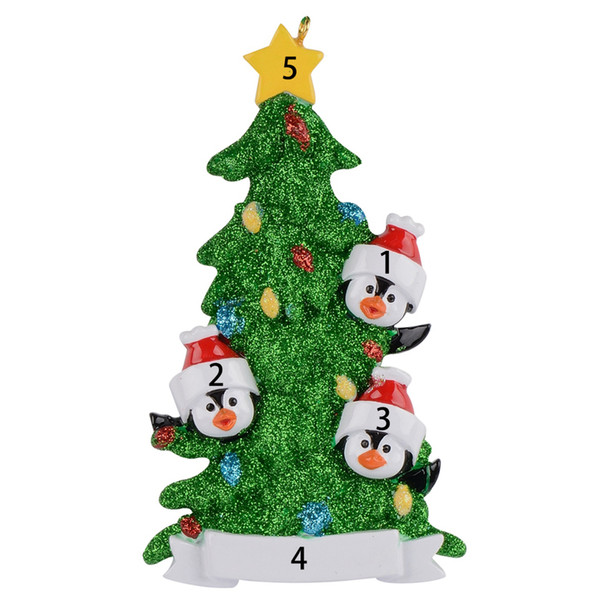 Resin Penguin Family Of 3 4 5 6 7 Personalized Christmas Ornaments With Green Tree As Holiday Home Decor Miniature Craft Supplies