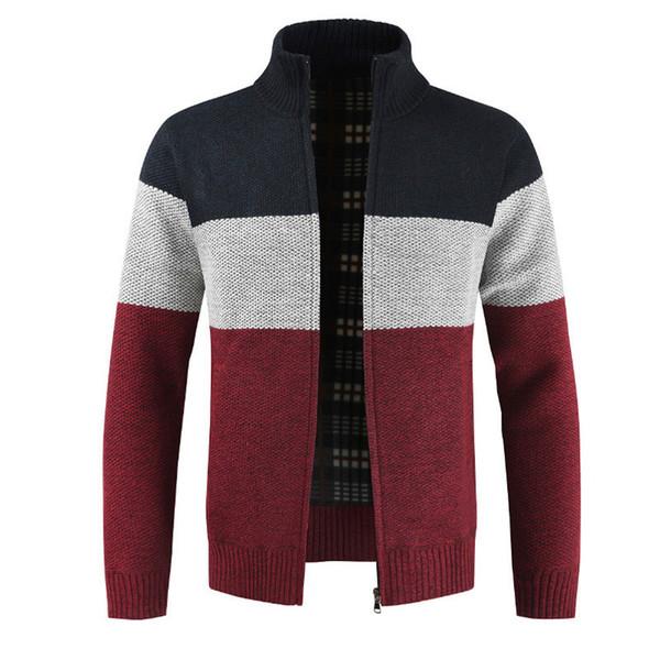 2019 Brand Clothing Thicken Winter Sweater Men Pattern Striped Zipper Warm Outwear Jacket Wool Liner Cardigan ropa de hombre Y1