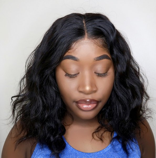 Full Lace Human Hair Wigs Pre Plucked Hairline Short Brazilian Lace Front Wigs Wavy for Women Ping