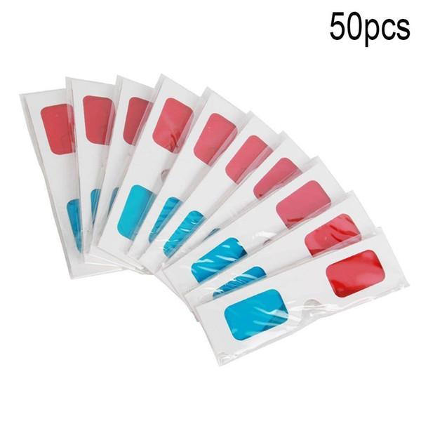 Ostart 50PCS Universal Paper Anaglyph Óculos 3D de papel 3D Glasses Ver Anaglyph Vermelho Ciano Vermelho / Vidro azul para filme
