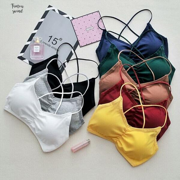 Mujeres Tops Crop camisola Camis Tops Colores sólidos Bralette ropa interior de tiras de algodón 100% Sujetador con relleno de algodón del chaleco sin mangas