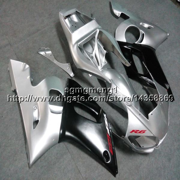 Flaschen + Geschenke silber schwarz Motorradartikel für Yamaha YZF-R6 1998 1999 2000 2001 2002 ABS Kunststoff Motor Verkleidung