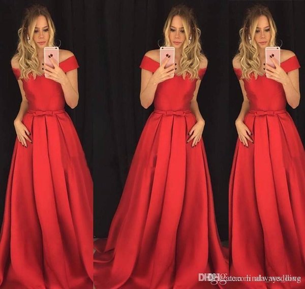 2019 Red Long Evening Dress A Line Off Shoulders Bow Knot Sash Formal Holiday Wear Prom Party Gown Custom Made Plus Size