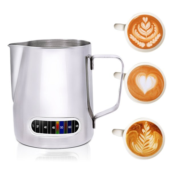 Milk Frothing Jug with Built-In Thermometer Stainless Steel Creamer Frothing Pitcher 20 Oz (600 Ml) Espresso Coffee Latte Pots Tool