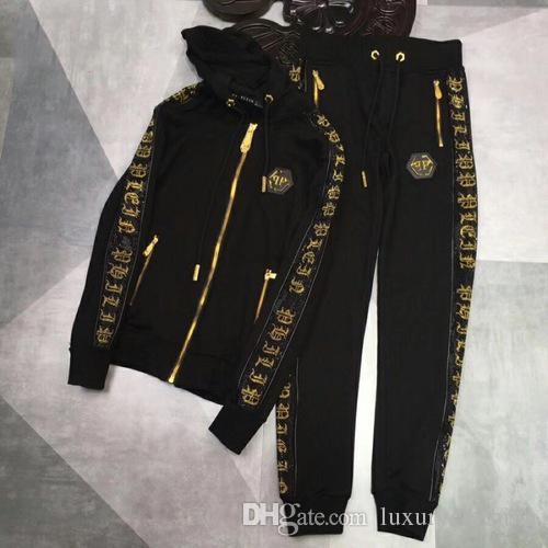 Men's wear designer sportswear, luxury brand designer hooded, black autumn/winter casual suit, embroidered fashion jacket, zipper coat