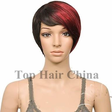 Top hair china nueva llegada de moda color rojo caliente corto recto peluca sintética peluca explosión peluca peluca llena para la mujer negra envío gratis