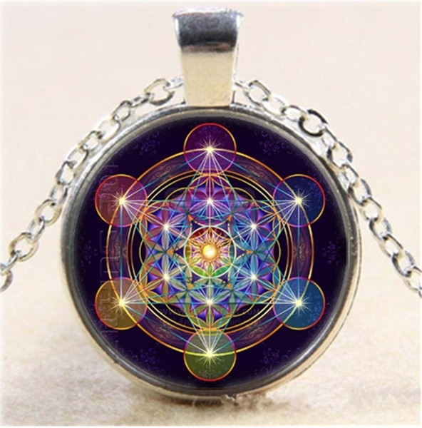 Cube sacred geometry photo silver necklace 25mm convex dome dome glass chain pendant necklace starry sky pattern long costume pendant