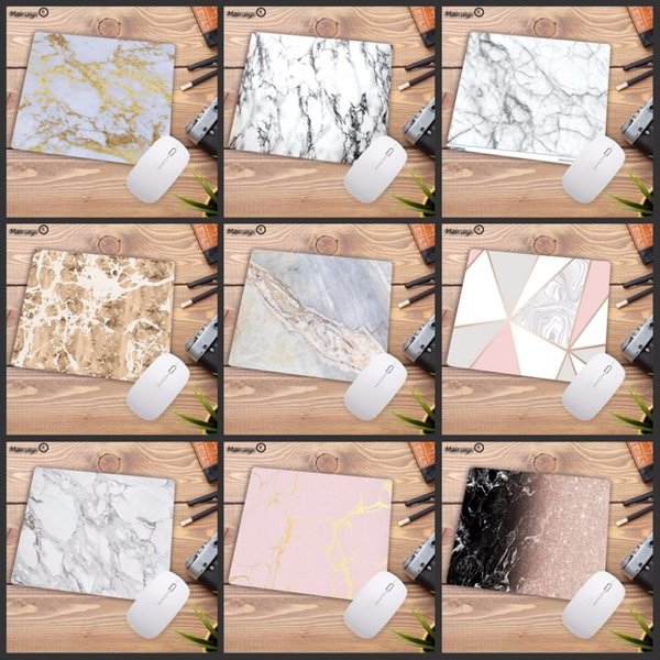 Mairuige 22X18CM Beautiful Computer Mouse Pad Soft Natural Rubber Pink Gold White marble Series Mice Pad Square Gaming MousePads