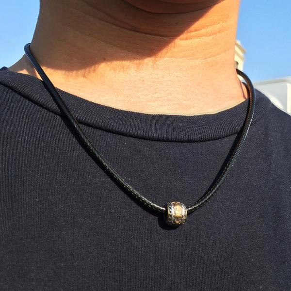 Hombres collar de cuero Hombre Cadena de cuero Retro Acero inoxidable Colgante Moda pingente geometría amuleto joyería regalos