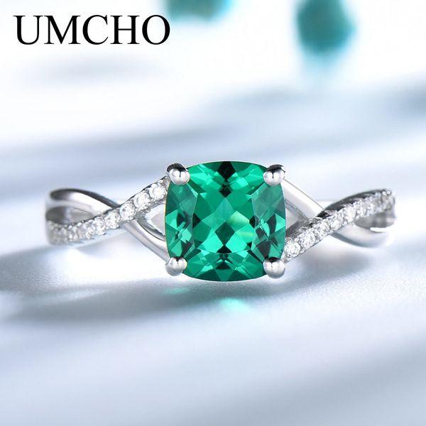 UMCHO Emerald Gemstone Кольца для женщин Твердые 925 Серебряное кольцо Серебряное обручальное кольцо Обручальное Romantic Fine Jewelry Gift