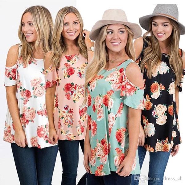Casual Slim Summer Ladies Loose Flower Floral Print Short Sleeved Open Cold Shoulder Crew Neck Jumper Tops O-Neck Blouse T-Shirt Shirt Tee