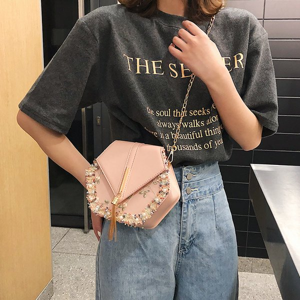 Fashion Women Shoulder Bag Geometric Casual Chain Bag Stylish Women Tassel Bags female luxury crossbody bag pearl handbag 2019