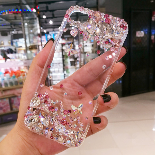 Hot Pink Gradient Clear Phone Case Cover For Xiaomi Redmi 5 Plus 5A Note 4 5 5A Diamond Hard Protective Shell Skins Bag