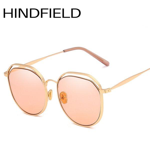 Hindfield Cool Openwork Metal Frame gafas de sol mujeres y hombres moda gafas de sol Oval Classic Candy Colors Lens O291