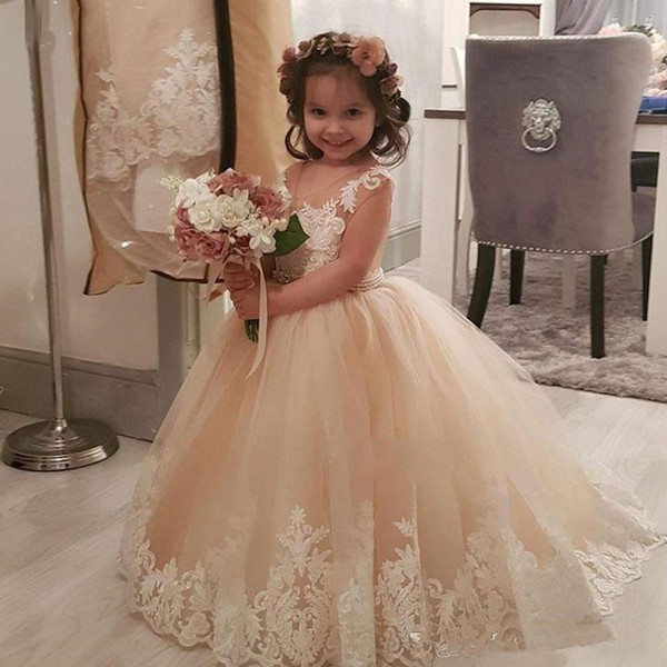 Champagne Princess Long Flower Girls Dresses For Wedding Bridesmaid Beads Sash Appliques Tulle Child Birthday Party Gowns