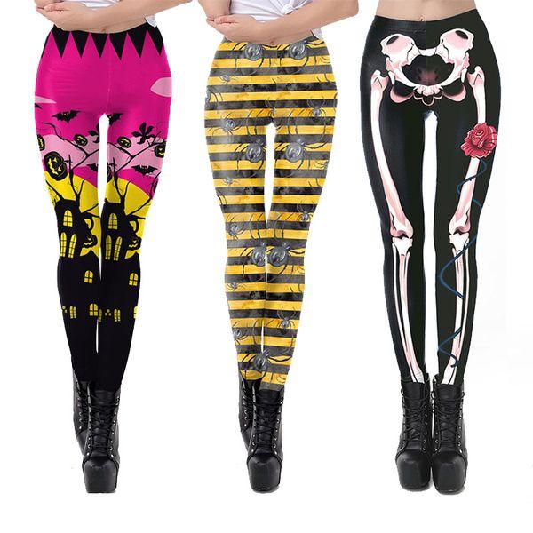 Frauen Neue Gamaschen 21 Farben Halloween Ghost Schädel Kürbis Gedruckt Hosen Damen Mädchen Cosplay Legging Mode Fitness Sport Enge Hosen