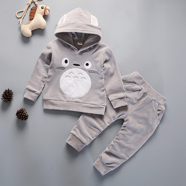 Children Sport Suit Velvet Hooded Cartoon Boys Clothing Set Spring Sweetshirt Pant 2PCS Set Casual Baby For Boys And Girls