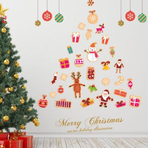 Christmas Window View Santa Claus Wall Stickers Home Decal Room Decor