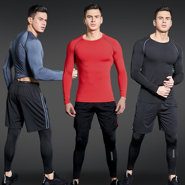 Sport Suit Men Gym Training Fitness Sportswear Workout Suits Running Jogging Sport Compression Clothing Tracksuit Mens Sports Q190521