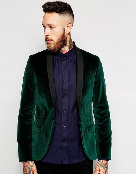 Slim Fit Green Velvet Groom Tuxedos Black Lapel Groomsmen Wedding Dress Autumn Winter Style Men Formal Party Prom Suit(Jacket+Pants+Tie) 912