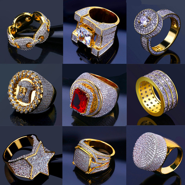 Bling Iced Out Anelli d'oro Mens Hip Hop Gioielli Cool CZ Stone Lusso Deisnger Men Hiphop Anelli