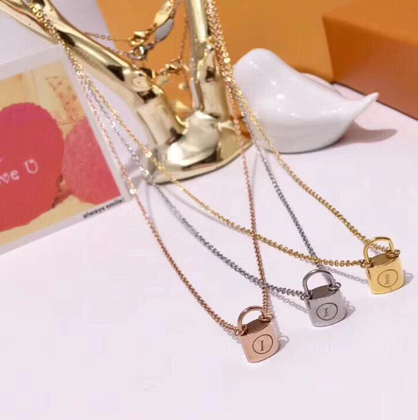 top popular Fashion brand with logo Lock Designer necklace mens 14k gold chains Womens Party Wedding Lovers gift Luxury Jewelry for Bride 2021