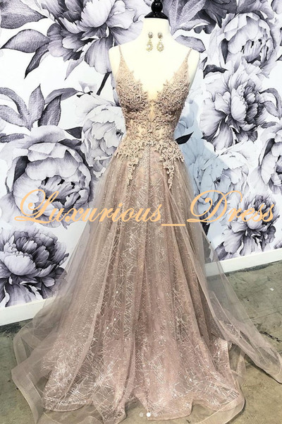 New Design 2019 Elegant Lace Evening Dress Deep V-Neck See Through Sequins Prom Dresses Backless Party Gowns Guest Dress Sexy Black Girl