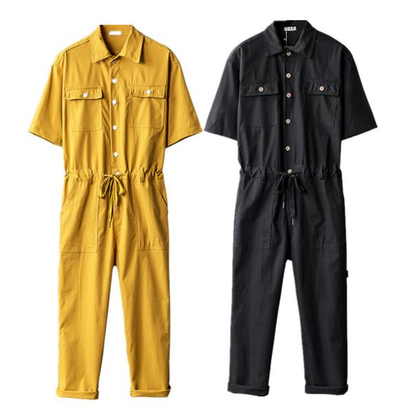 Tuta da uomo manica corta da un pezzo tuta in cotone moda casual da uomo tuta pagliaccetti 2019 nuova estate maschile abiti set