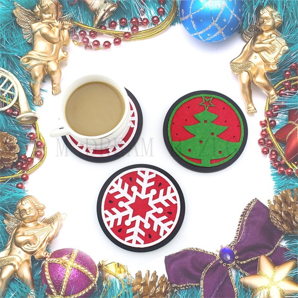 Christmas coaster set Round silicone with non-woven fabric cup mat set Non-slip insulation soft silicone water absorption cup pad