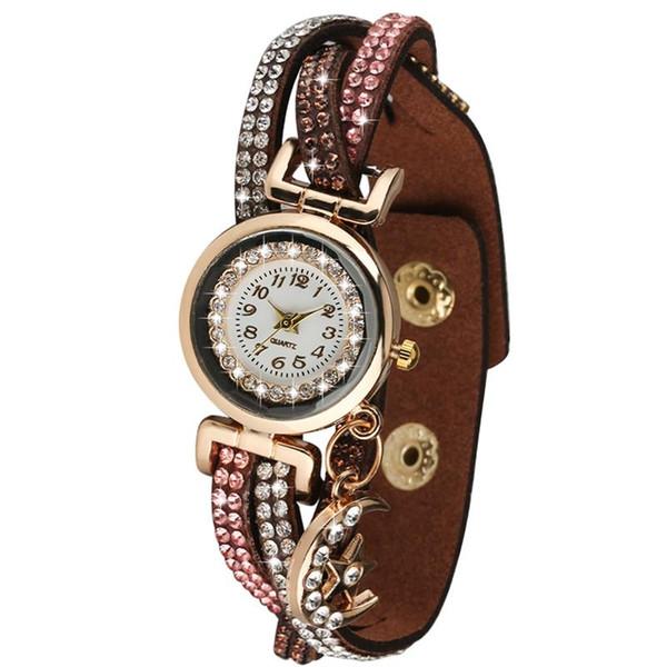Chic White Arabic Digital Dial Women Quartz Watch Elegant Bangle Wristwatch Exquisite Diamond-encrusted Band with Moon Pendant Watches